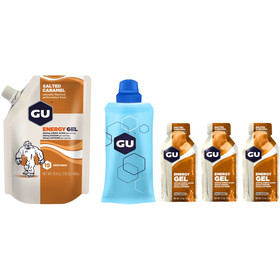 GU Energy Gel Bulk Pack 480g + Gel 3x32g + Flask, Salted Caramel